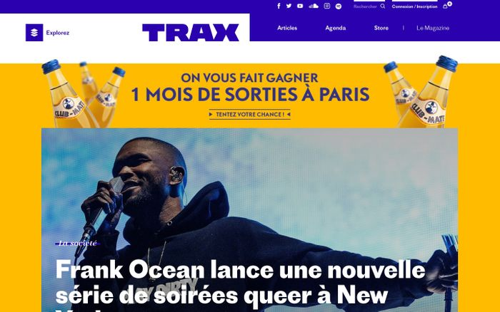 Screenshot of Trax Magazine website