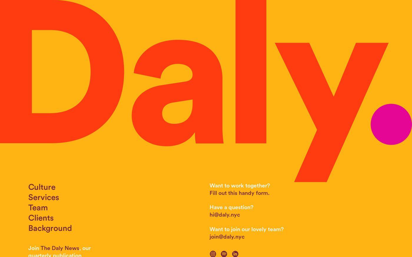Screenshot of Daly website