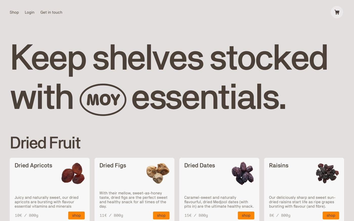 Screenshot of Moy website