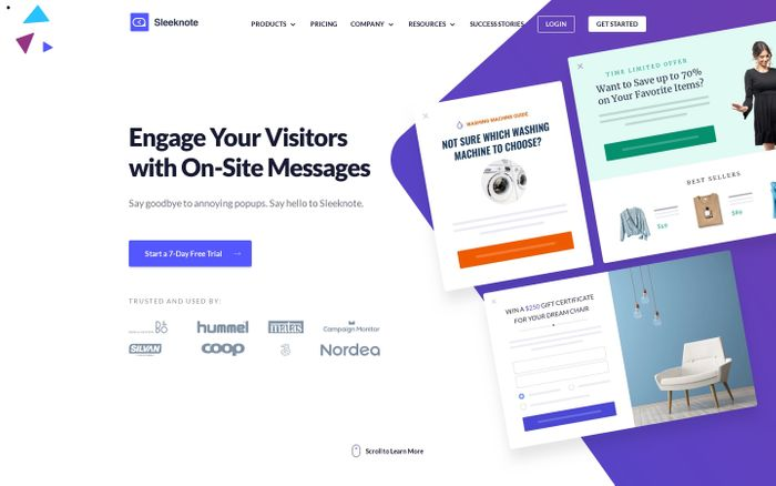 Screenshot of Sleeknote | Engage Your Visitors with On-Site Messages