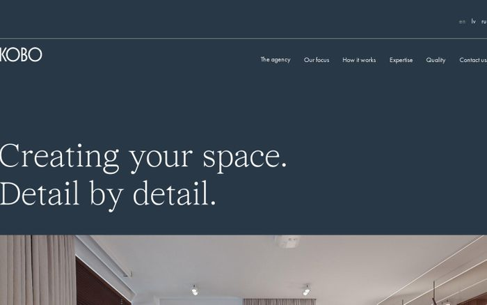 Screenshot of Kobo Interiors website