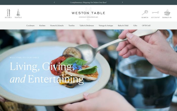 Screenshot of Weston Table website
