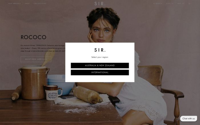 Screenshot of SIR the label | Separates, Intimates, Ready to Wear