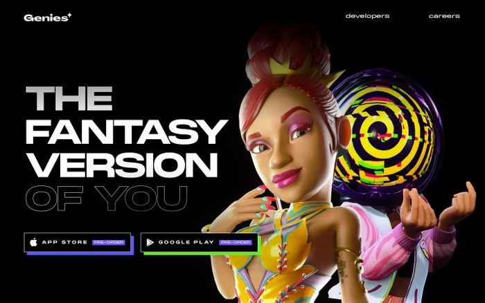 Screenshot of Genies website