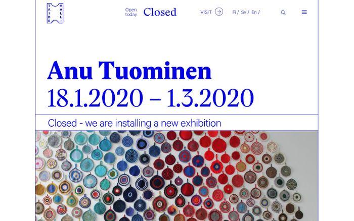 Screenshot of Koti | Taidehalli - Kunsthalle Helsinki website