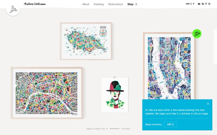 Screenshot of Illustrated maps and portraits by Antoine Corbineau — Life On Maps