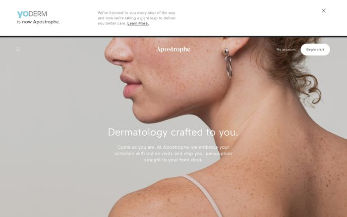 Screenshot of Apostrophe | Dermatology crafted to you.