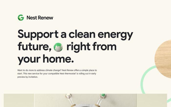 Screenshot of Nest Renew from Google website