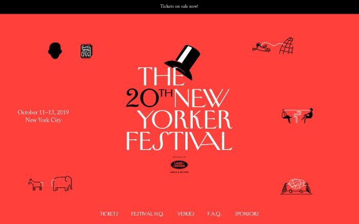Screenshot of The 20th New Yorker Festival website
