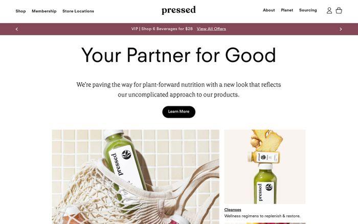 Screenshot of Pressed Juicery website