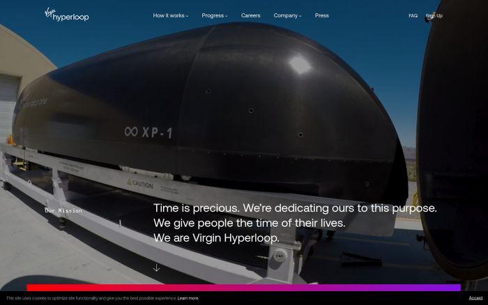 Screenshot of Virgin Hyperloop