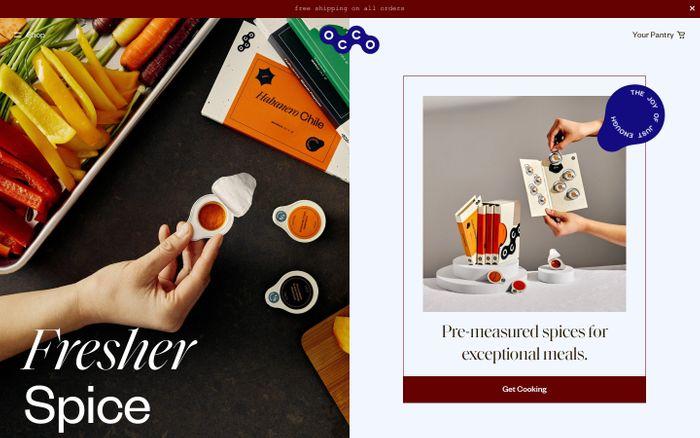 Screenshot of Occo Spices website