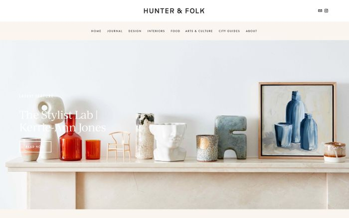 Screenshot of Hunter & Folk website
