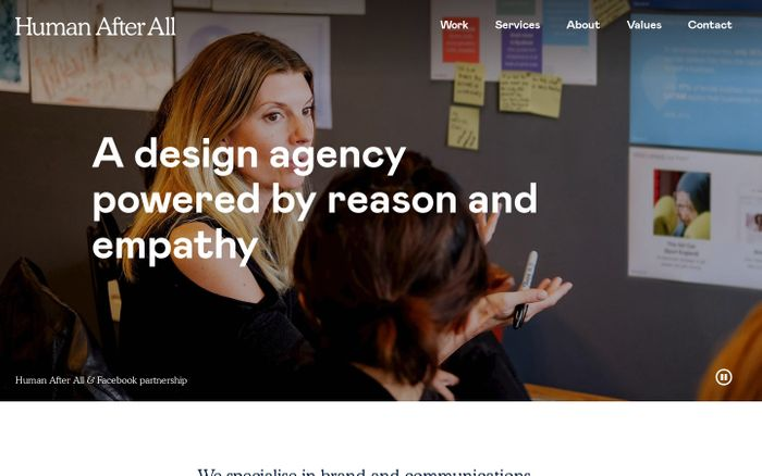 Screenshot of We are Human After All — a design agency in London