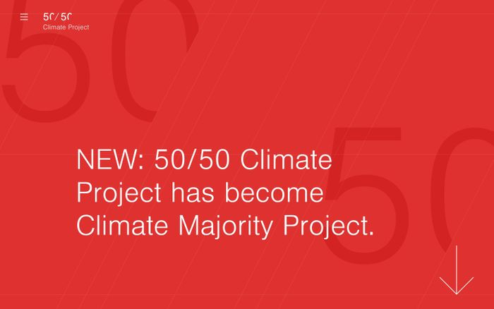 Screenshot of 50/50 Climate Project - Non-profit Climate Risk Management for Boards and Investors website