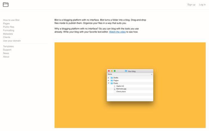 Screenshot of Blot – A blogging platform with no interface