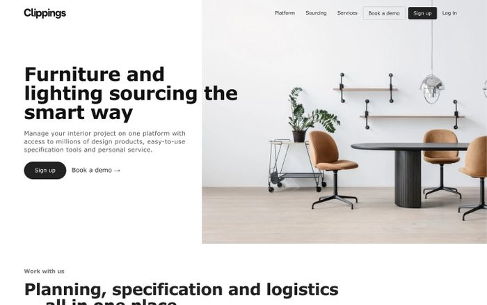 Screenshot of Clippings - Furniture and lighting sourcing the smart way