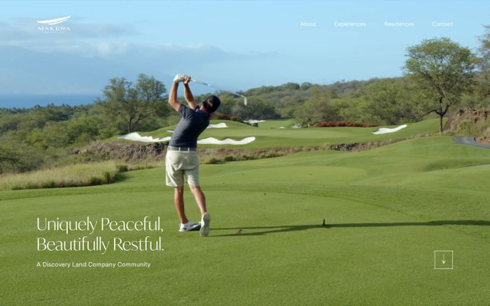 Screenshot of Mākena golf & beach club website