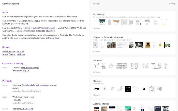 Screenshot of Gemma Copeland — Digital design and research
