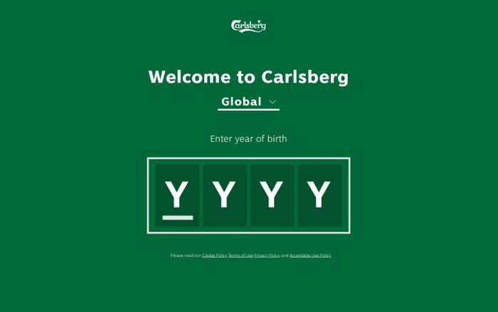 Screenshot of Carlsberg website