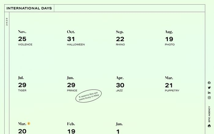 Screenshot of EPIC days website