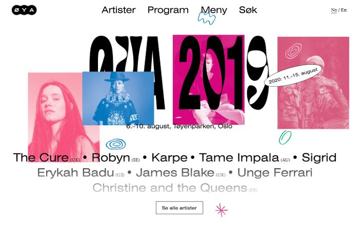 Screenshot of Øyafestivalen 2019