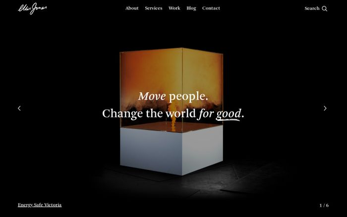 Screenshot of Ellis Jones: Move people. Change the world for good. | Ellis Jones