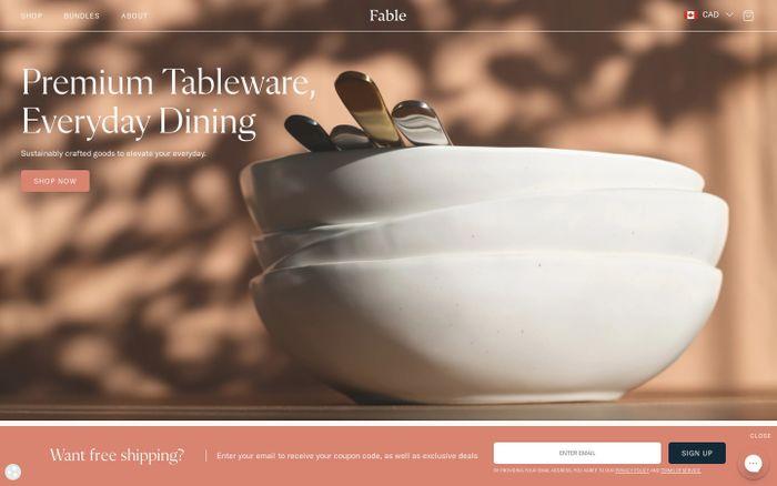 Screenshot of Fable website