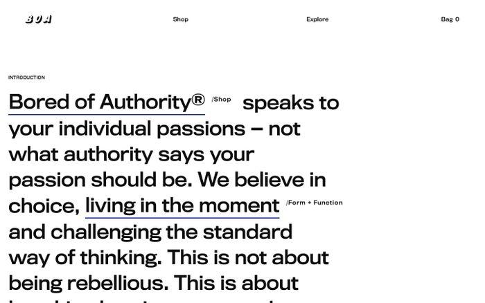 Screenshot of Bored of Authority® — Technical Ski/Snowboard & Street Wear | B.O.A website