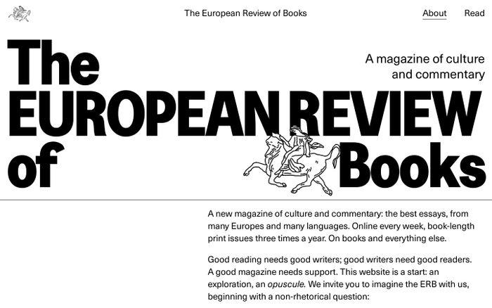 Screenshot of The european review of books website
