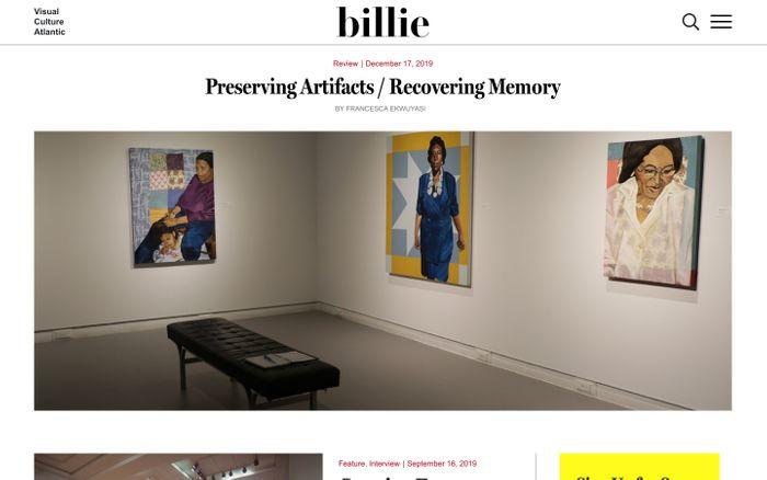 Screenshot of Billie - Visual Culture Atlantic website