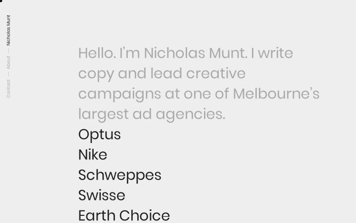Screenshot of Nicholas Munt - Copywriter