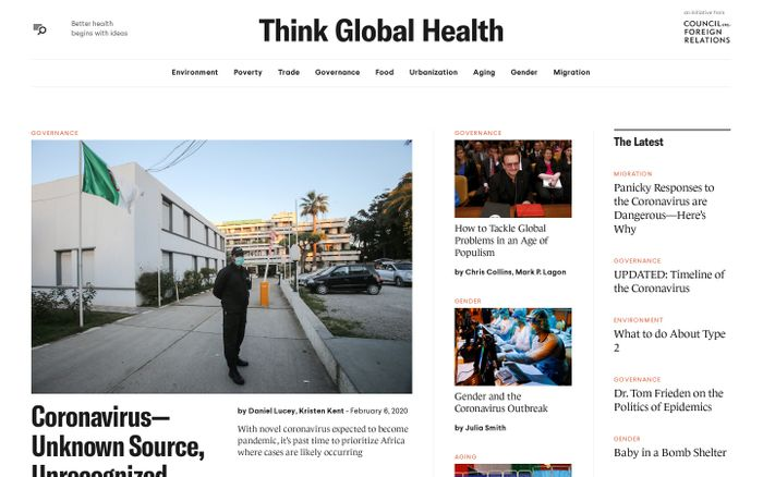 Screenshot of Think Global Health