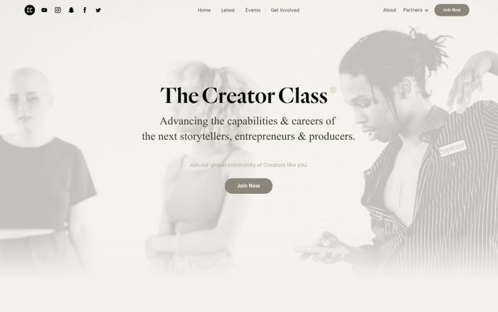 Screenshot of The creator class website