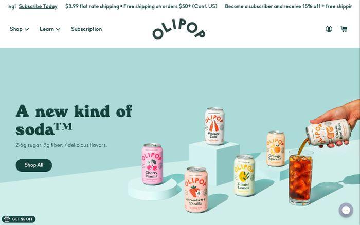Screenshot of Olipop website