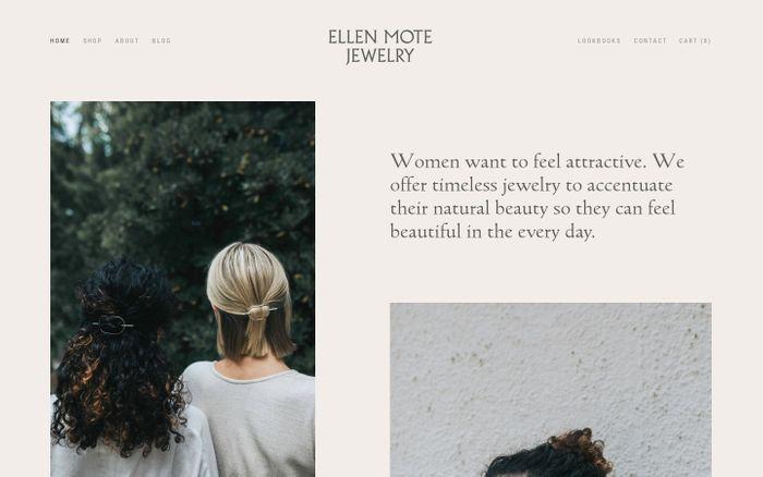 Screenshot of Ellen Mote Jewelry website