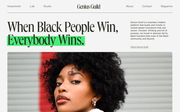 Screenshot of Genius Guild website