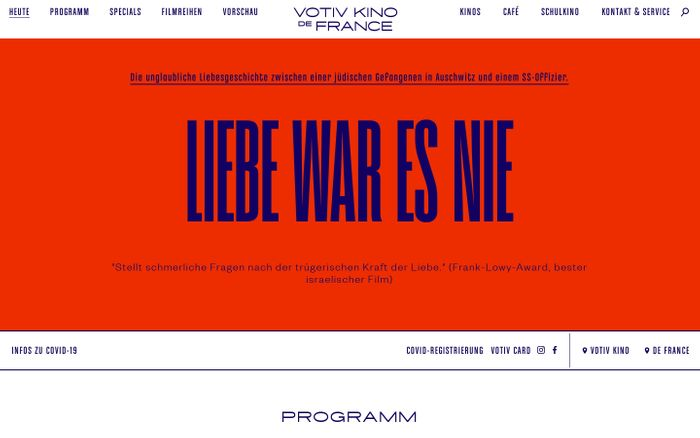 Screenshot of Votiv Kino de france website