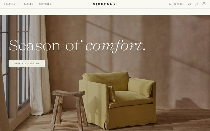 Screenshot of Sixpenny website