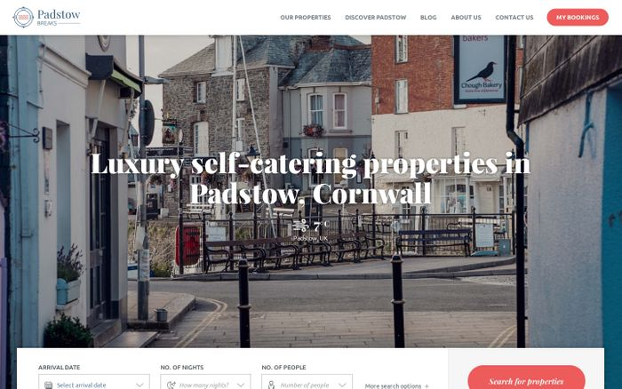 Screenshot of Luxury apartments & cottages in Padstow, Cornwall