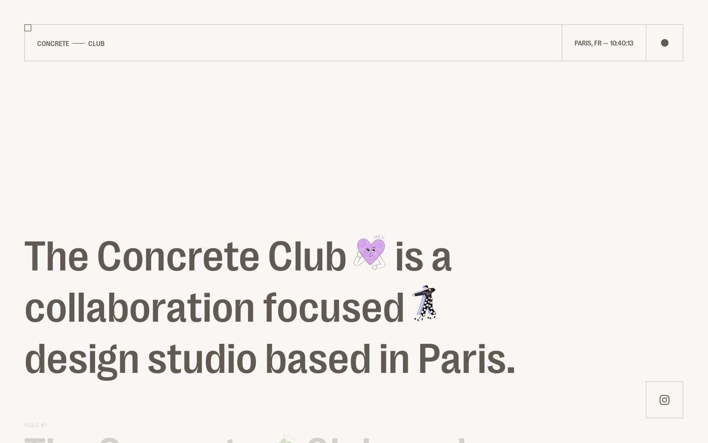 Screenshot of Concrete club studio website