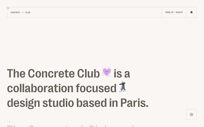 Screenshot of Concrete club studio website