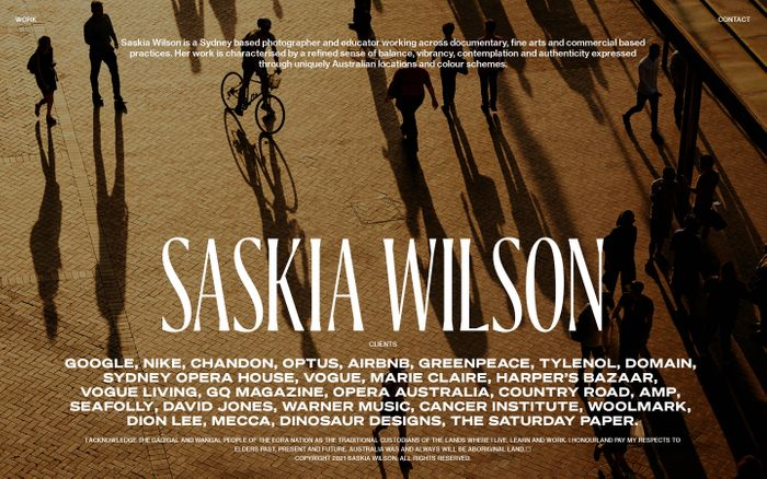 Screenshot of Saskia Wilson website