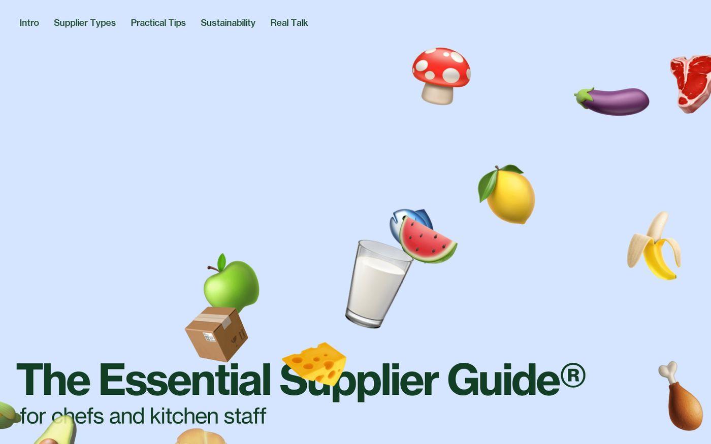 Screenshot of The essential supplier guide website