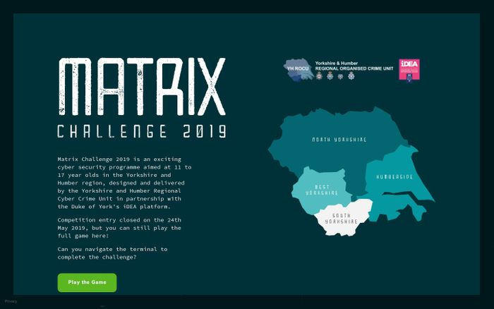 Screenshot of Matrix Challenge 2019