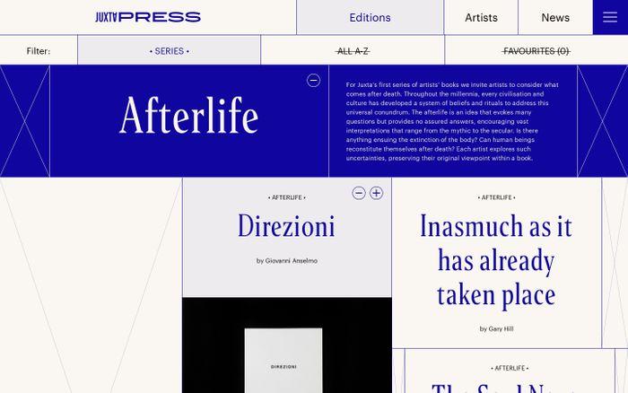 Screenshot of Editions - Juxta Press