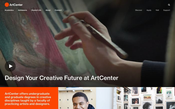 Screenshot of ArtCenter College of Design - A Global Leader in Art and Design Education