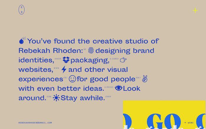 Screenshot of Rebekah Rhoden website