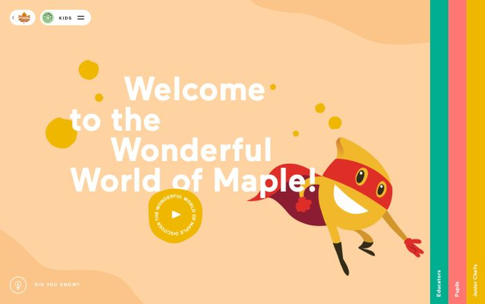 Screenshot of Wonderful world of maple website