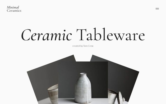 Screenshot of Minimal Ceramics website